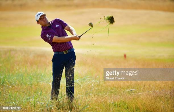 Tommy Fleetwood of England walks onto the 1st hole tee during the final round of the Open Championship at Carnoustie Golf Club on July 22 2018 in...