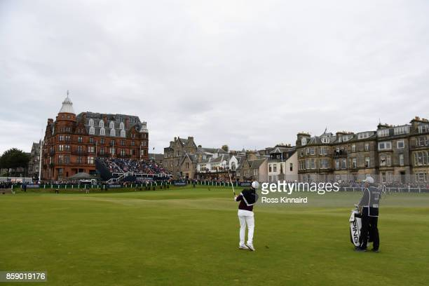 Tyrrell Hatton of England plays his second shot on the 18th during the final round of the 2017 Alfred Dunhill Championship at The Old Course on...