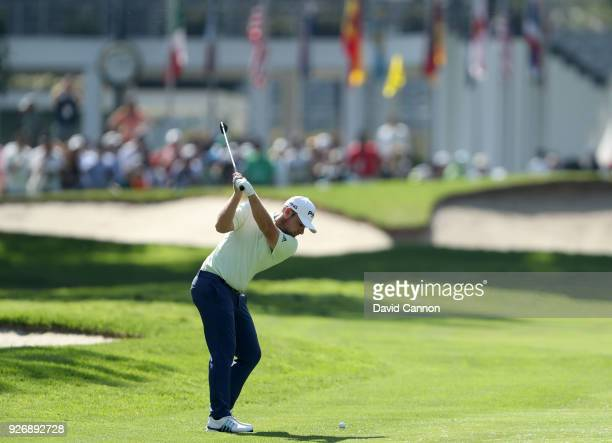 Tyrrell Hatton of England plays his second shot on the 18th hole during the third round of the World Golf ChampionshipsMexico Championship at the...