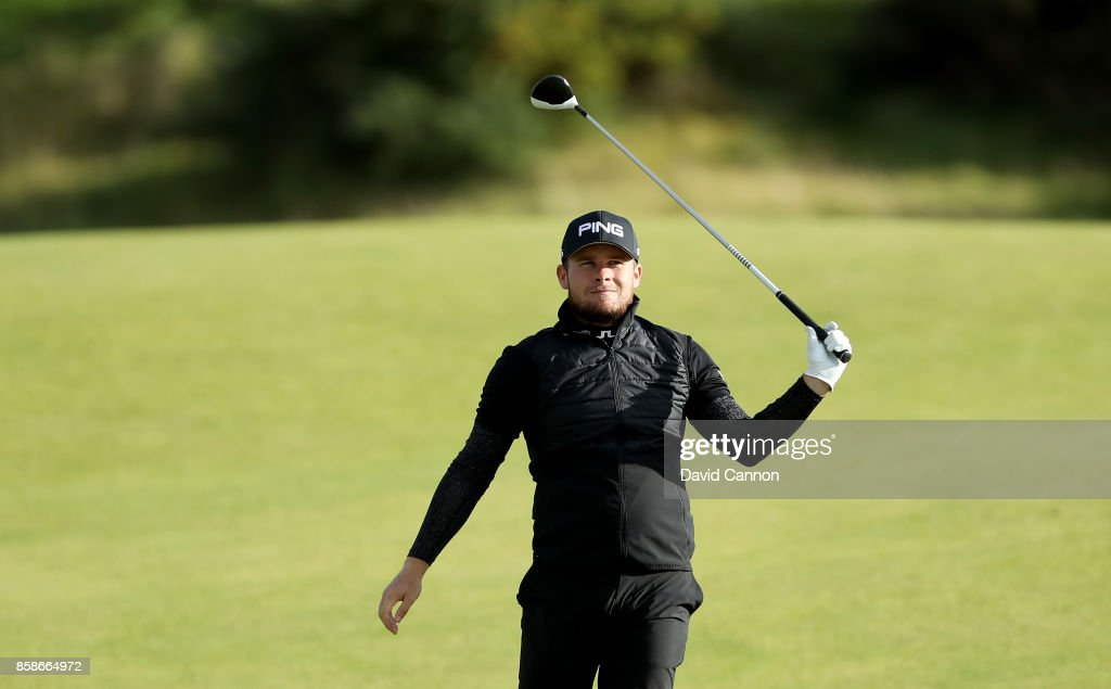 Tyrrell Hatton of England plays his second shot on the ninth hole during the third round of the 2017 Alfred Dunhill Links Championship on the Kingsbarns Golf Links on October 7, 2017 in Kingsbarns, Scotland.