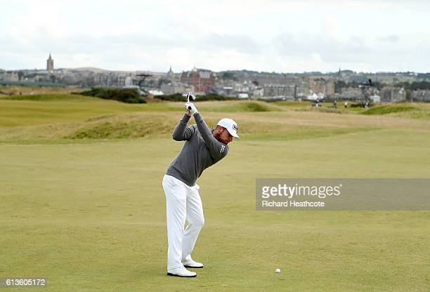 Tyrrell Hatton of England plays his second shot to the 14th hole during the final round of the Alfred Dunhill Links Championship at The Old Course on...