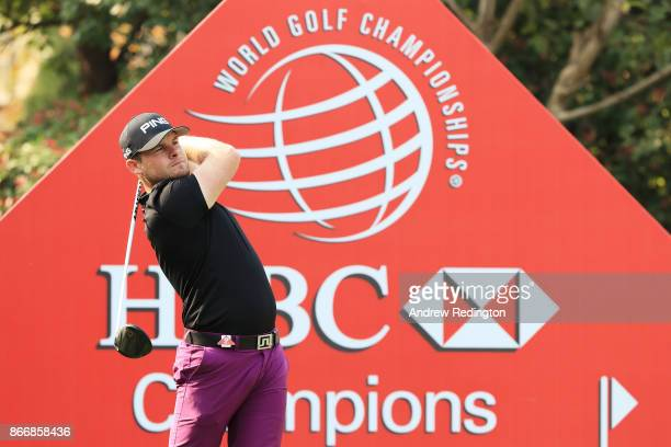 Tyrell Hatton of England plays his shot from the first tee during the second round of the WGC HSBC Champions at Sheshan International Golf Club on...