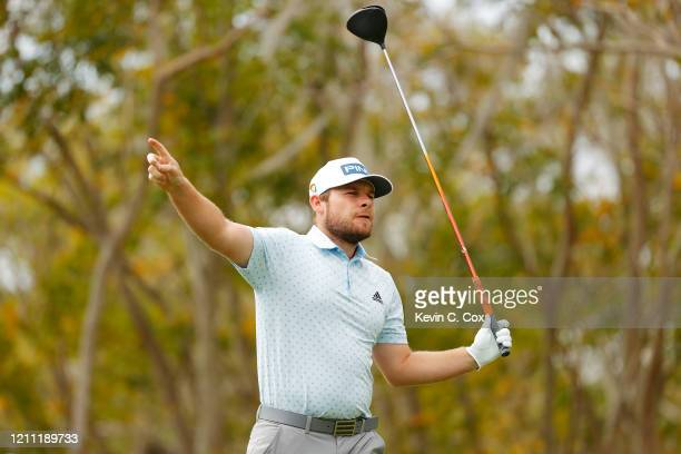 Tyrrell Hatton of England plays his shot from the third tee during the final round of the Arnold Palmer Invitational Presented by MasterCard at the...