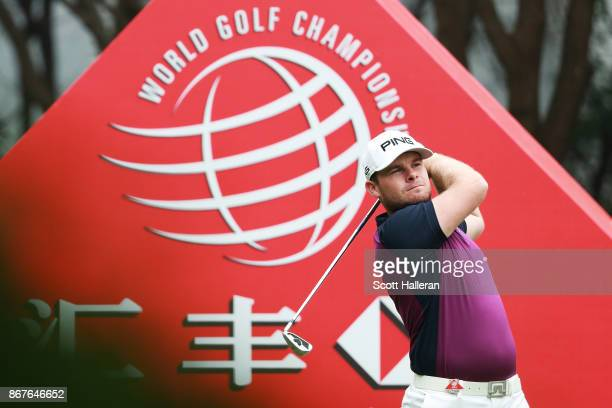 Tyrell Hatton of England plays his shot from the third tee during the final round of the WGC HSBC Champions at Sheshan International Golf Club on...