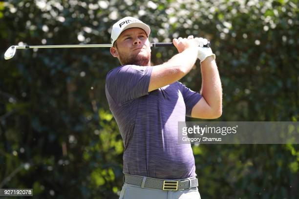 Tyrrell Hatton of England plays his shot from the third tee during the final round of World Golf ChampionshipsMexico Championship at Club De Golf...