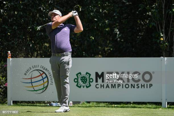 Tyrell Hatton of England plays his shot from the third tee during the final round of the World Golf ChampionshipsMexico Championship at Club de Golf...