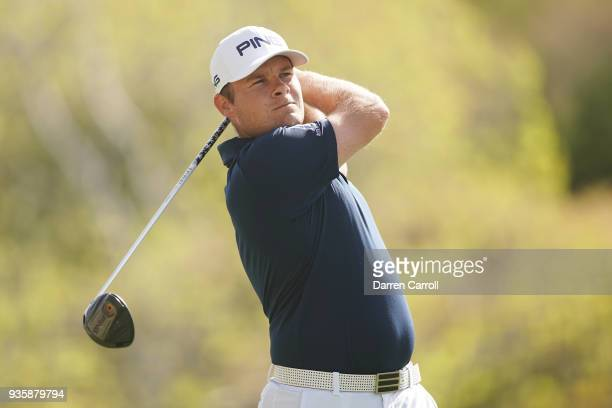 Tyrell Hatton of England plays his shot from the third tee during the first round of the World Golf ChampionshipsDell Match Play at Austin Country...