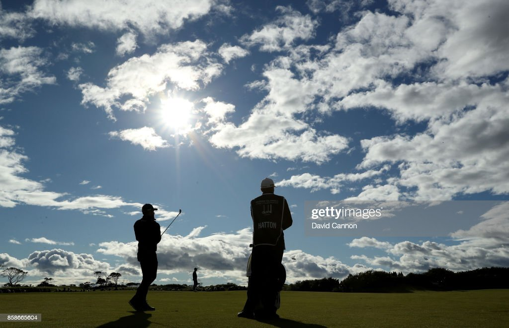 Tyrrell Hatton of England plays his third shot on the ninth hole during the third round of the 2017 Alfred Dunhill Links Championship on the Kingsbarns Golf Links on October 7, 2017 in Kingsbarns, Scotland.