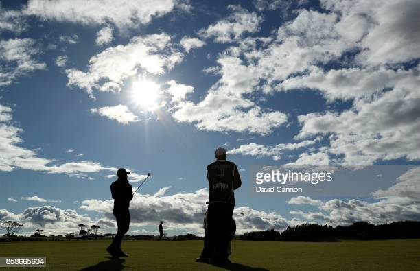 Tyrrell Hatton of England plays his third shot on the ninth hole during the third round of the 2017 Alfred Dunhill Links Championship on the...