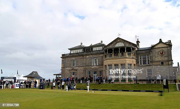 Tyrrell Hatton of England plays off the first tee during the final round of the Alfred Dunhill Links Championship at The Old Course on October 9 2016...