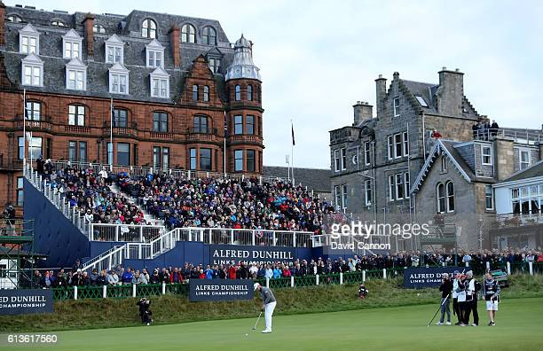 Tyrrell Hatton of England putting on the 18th green on his way to victory during the final round of the Alfred Dunhill Links Championship at The Old...