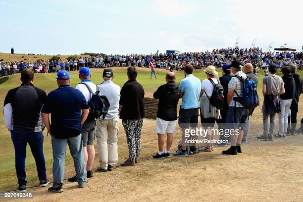 Tyrrell Hatton of England putts on hole twelve during day two of the Aberdeen Standard Investments Scottish Open at Gullane Golf Course on July 13...
