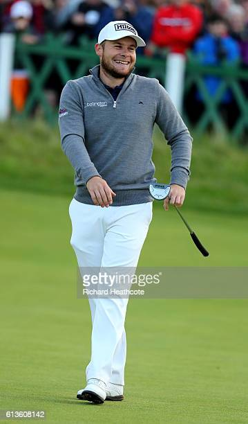 Tyrrell Hatton of England reacts after putting on the 18th green during the final round of the Alfred Dunhill Links Championship at The Old Course on...