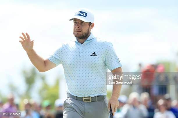 Tyrrell Hatton of England reacts during the final round of the Arnold Palmer Invitational Presented by MasterCard at the Bay Hill Club and Lodge on...