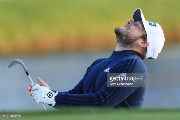 Tyrrell Hatton of England reacts on the 17th hole during the third round of the Arnold Palmer Invitational Presented by MasterCard at the Bay Hill...
