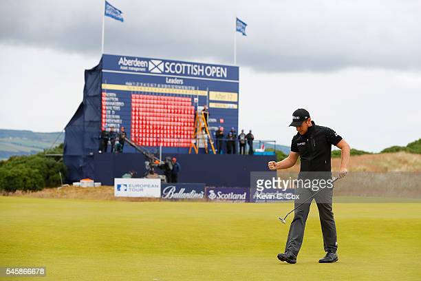 Tyrrell Hatton of England reacts on the 18th green during the final round of the AAM Scottish Open at Castle Stuart Golf Links on July 10 2016 in...