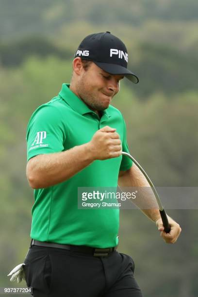 Tyrrell Hatton of England reacts to a missed birdie putt on the 14th green during the fourth round of the World Golf ChampionshipsDell Match Play at...