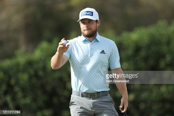 Tyrrell Hatton of England reacts to saving par on the 14th green during the final round of the Arnold Palmer Invitational Presented by MasterCard at...