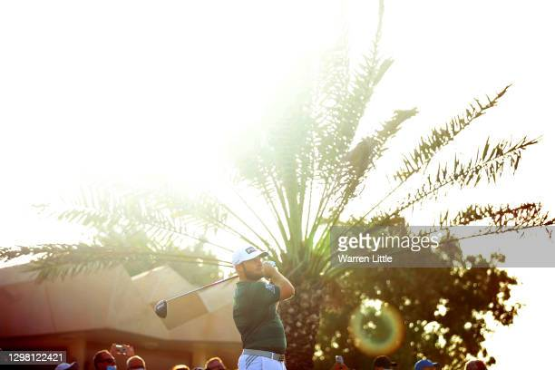 Tyrrell Hatton of England tees off on the 18th hole during the final round of the Abu Dhabi HSBC Championship at Abu Dhabi Golf Club on January 24,...