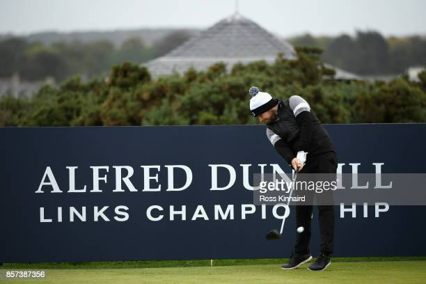 Tyrell Hatton of England tees off on the 5th during practice prior to the 2017 Alfred Dunhill Links Championship at The Old Course on October 4 2017...
