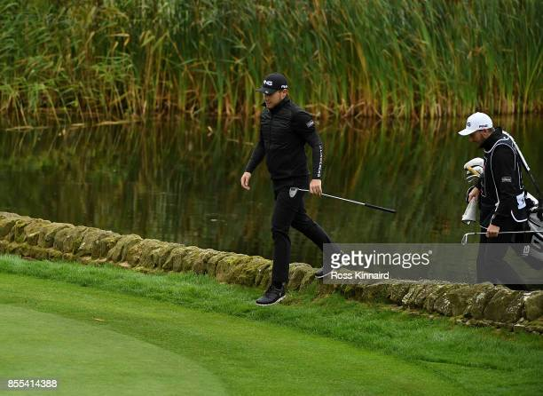 Tyrell Hatton of England walks on to the 14th green during day two of the British Masters at Close House Golf Club on September 29 2017 in Newcastle...