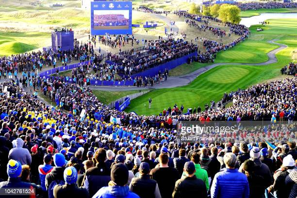 Tyrrell Hatton of Europe plays his shot from the first tee during the morning fourball matches of the 2018 Ryder Cup at Le Golf National on September...