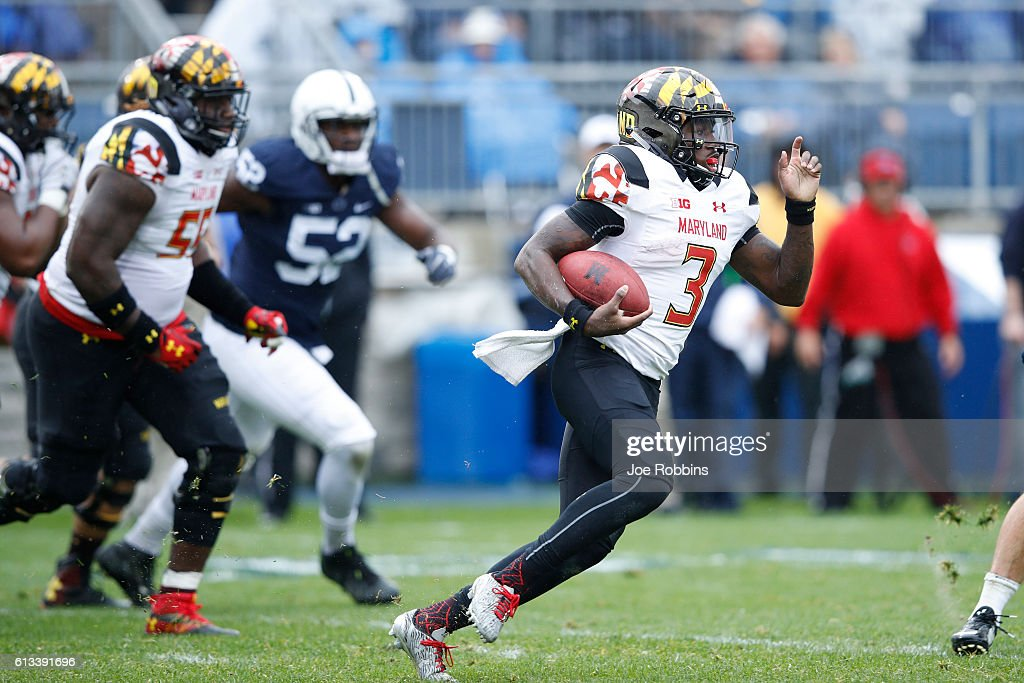 Tyrrell Pigrome #3 of the Maryland Terrapins runs with the ball against the Penn State Nittany Lions in the second half at Beaver Stadium on October 8, 2016 in State College, Pennsylvania. Penn State defeated Maryland 38-14.
