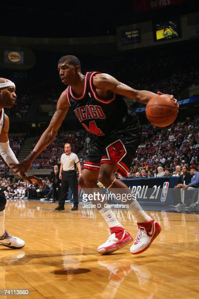 Tyrus Thomas of the Chicago Bulls moves against the New Jersey Nets at Continental Airlines Arena on April 18 2007 in East Rutherford New Jersey The...