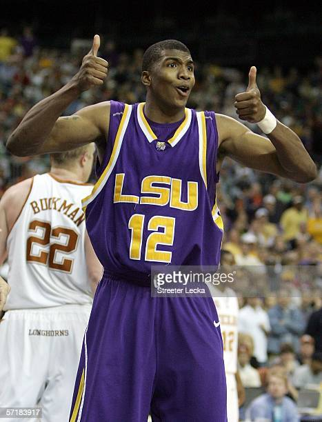Tyrus Thomas of the LSU Tigers signals for a jump ball during the fourth round game of the 2006 NCAA Division I Men's Basketball Tournament Regional...