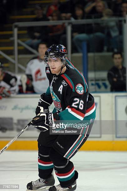 Tysen Dowzak of the Kelowna Rockets skates against the Moose Jaw Warriors on October 27 2007 at Prospera Place in Kelowna Canada
