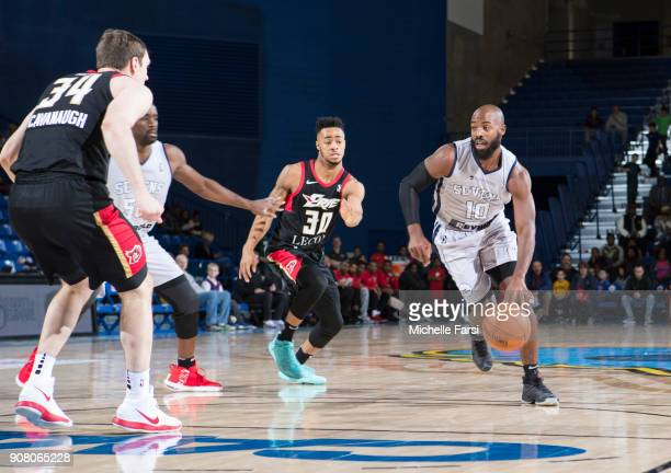 Tyshawn Abbott of the Delaware 87ers drives to the basket against the Erie BayHawks during an NBA GLeague game on January 20 2018 at the Bob...