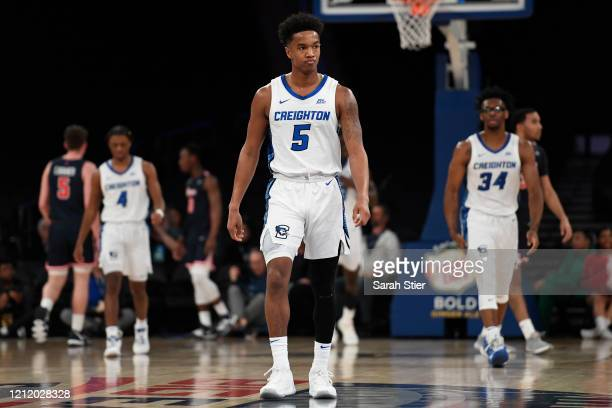 Ty-Shon Alexander of the Creighton Bluejays looks on in the first half against the St. John's Red Storm during the quarterfinals of the Big East...