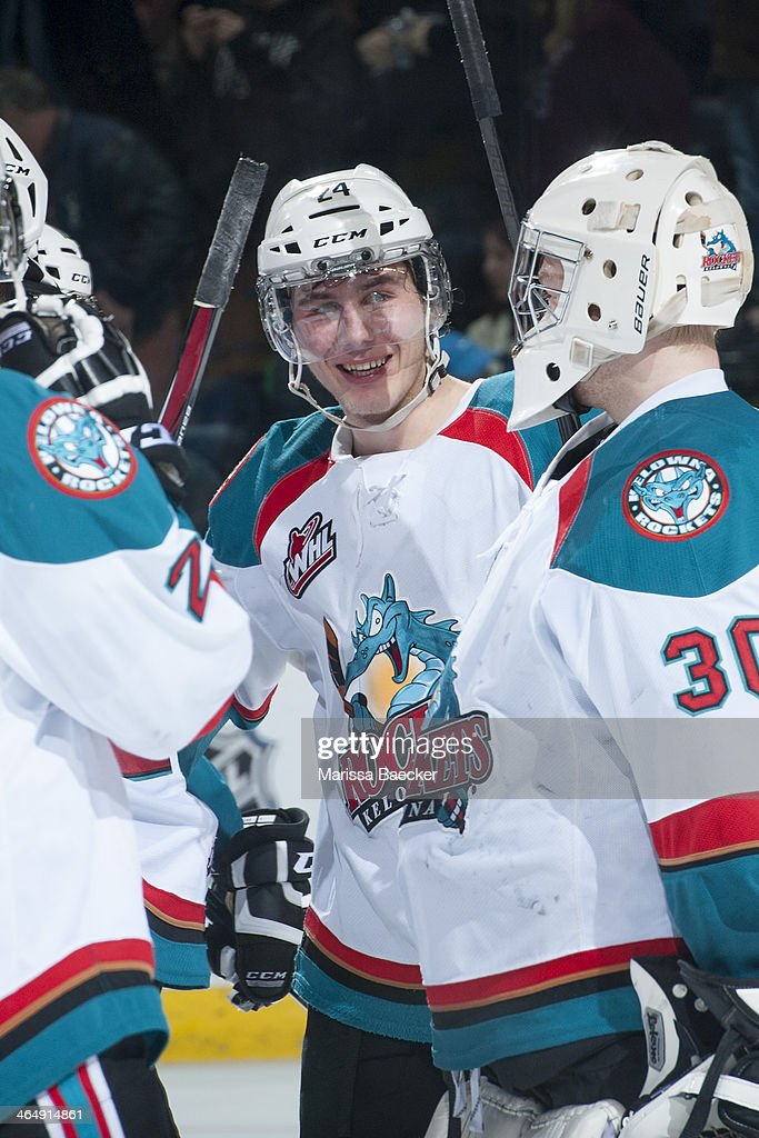 Tyson Baillie #24 of the Kelowna Rockets celebrates the win against the Medicine Hat Tigers on January 24, 2014 at Prospera Place in Kelowna, British Columbia, Canada.