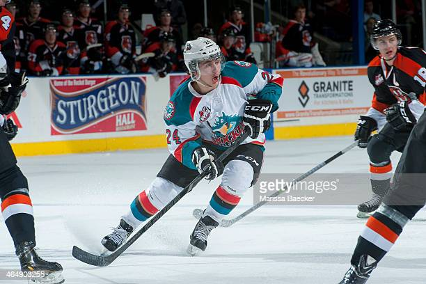 Tyson Baillie of the Kelowna Rockets stops on the ice and calls for the puck against the Medicine Hat Tigers on January 24 2014 at Prospera Place in...