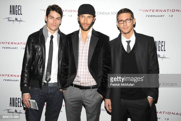 Tyson Ballou Noah Mills and Adam Senn attend THE CINEMA SOCIETY ANGEL BY THIERRY MUGLER host the premiere of 'THE INTERNATIONAL' at AMC Lincoln...