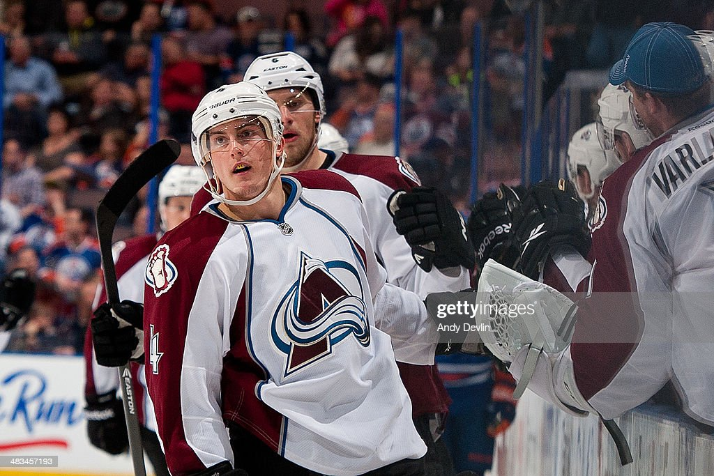 Tyson Barrie #4 of the Colorado Avalanche celebrates after a goal in a game against the Edmonton Oilers on April 8, 2014 at Rexall Place in Edmonton, Alberta, Canada.