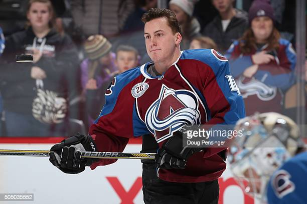 Tyson Barrie of the Colorado Avalanche handles the puck as he warms up prior to facing the New Jersey Devils at Pepsi Center on January 14 2016 in...