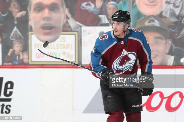 Tyson Barrie of the Colorado Avalanche juggles the puck prior to the game against the Calgary Flames in Game Four of the Western Conference First...