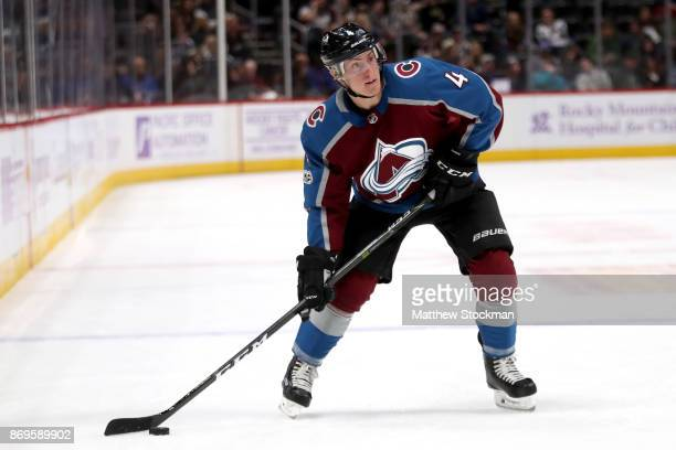 Tyson Barrie of the Colorado Avalanche lines up a shot on goal against the Carolina Hurricanes at the Pepsi Center on November 2 2017 in Denver...