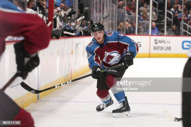 Tyson Barrie of the Colorado Avalanche looks on against the Anaheim Ducks at the Pepsi Center on October 13 2017 in Denver Colorado 'n