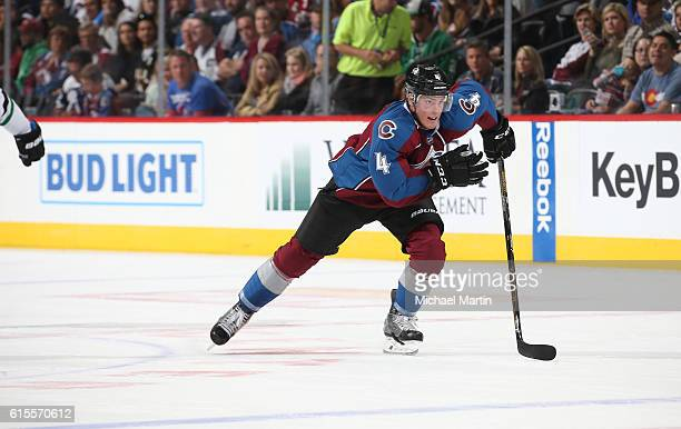 Tyson Barrie of the Colorado Avalanche skates against the Dallas Stars at the Pepsi Center on October 15 2016 in Denver Colorado