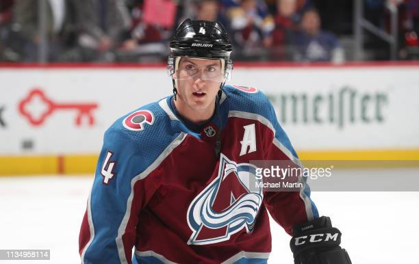 Tyson Barrie of the Colorado Avalanche skates prior to the game against the Buffalo Sabres at the Pepsi Center on March 9, 2019 in Denver, Colorado.