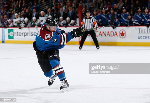 Tyson Barrie of the Colorado Avalanche takes a shot against the Minnesota Wild at Pepsi Center on February 28 2015 in Denver Colorado The Wild...