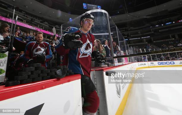 Tyson Barrie of the Colorado Avalanche takes to the ice prior to the game against the Buffalo Sabres at the Pepsi Center on February 25 2017 in...