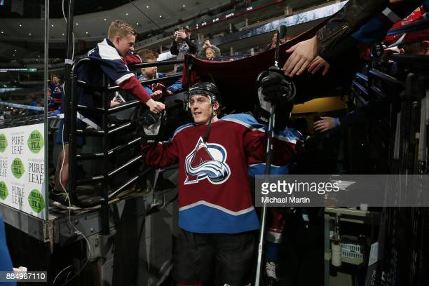 Tyson Barrie of the Colorado Avalanche takes to the ice prior to the game against the Dallas Stars at the Pepsi Center on December 3 2017 in Denver...