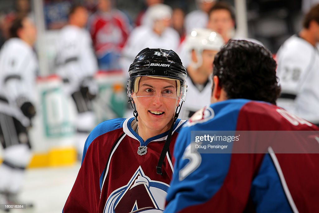 Tyson Barrie #41 of the Colorado Avalanche talks to Ryan O'Byrne #3 of the Colorado Avalanche as they warm up prior to facing the Los Angeles Kings at the Pepsi Center on January 22, 2013 in Denver, Colorado. The Avalanche defeated the Kings 3-1.