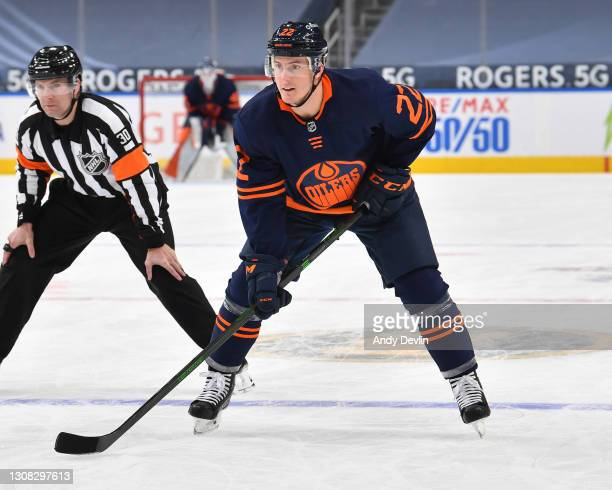 Tyson Barrie of the Edmonton Oilers awaits a face-off during the game against the Winnipeg Jets on March 20, 2021 at Rogers Place in Edmonton,...