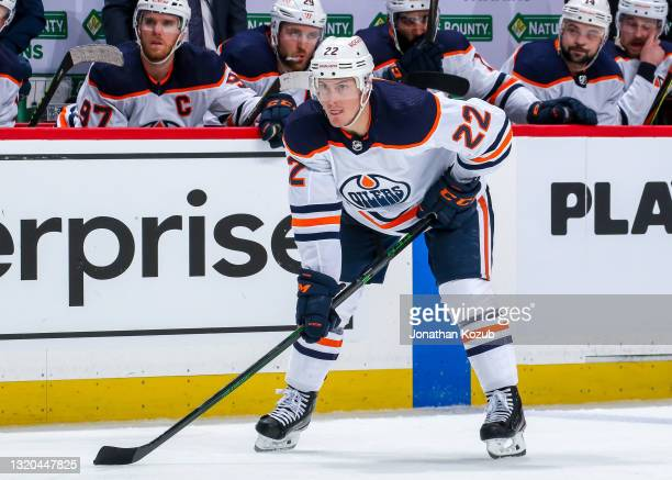 Tyson Barrie of the Edmonton Oilers prepares for a second period face-off against the Winnipeg Jets in Game Three of the First Round of the 2021...