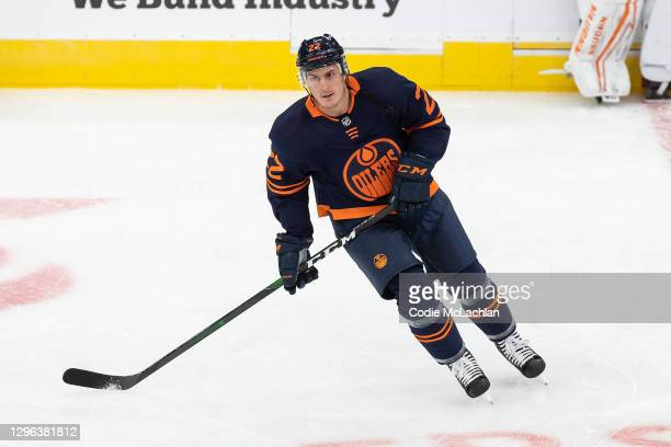 Tyson Barrie of the Edmonton Oilers skates against the Vancouver Canucks at Rogers Place on January 13, 2021 in Edmonton, Canada.