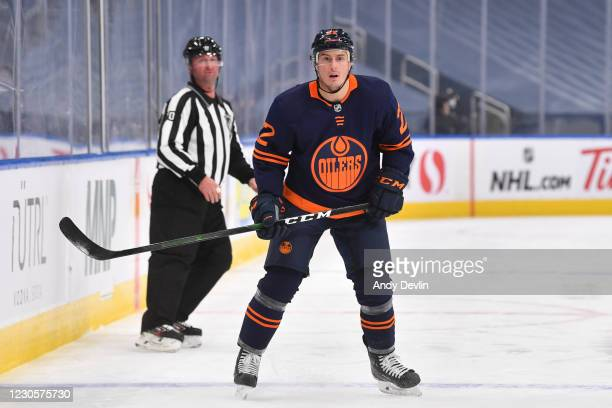 Tyson Barrie of the Edmonton Oilers skates during the game against the Vancouver Canucks on January 13, 2021 at Rogers Place in Edmonton, Alberta,...